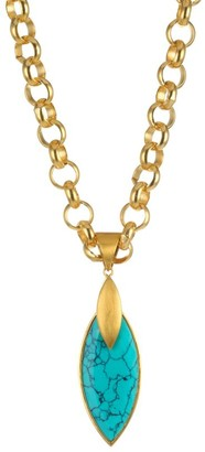 Dean Davidson Lotus 22K Goldplated & Turquoise Pendant Necklace