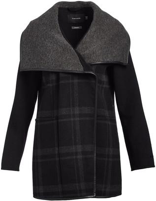 Tahari Women's Car Coats GREY - Grey Plaid Wool-Blend Oversize-Collar Peacoat - Women