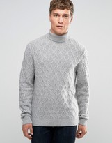 Asos Lambswool Rich Cable Roll Neck In Light Grey