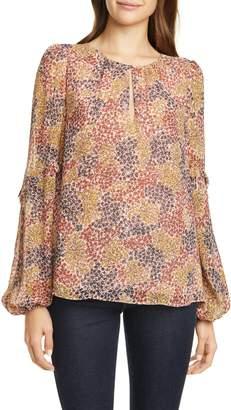 Joie Baltasar Floral Long Sleeve Silk Georgette Blouse