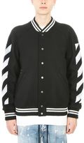 Off-White Varsity Diag Brushed Black Wool Jacket