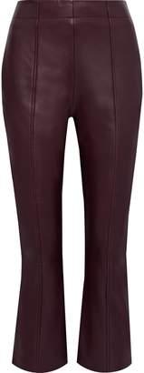 Iris & Ink Axel Snake-print Leather Kick-flare Pants