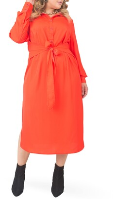 Standards & Practices Tie Waist Long Sleeve Midi Dress
