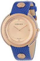"""Versace Women's VA7080013 """"Thea"""" Diamond and Sapphire-Accented Gold Ion-Plated Watch with Leather Band"""