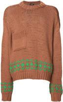 Raf Simons patch pocket intarsia jumper