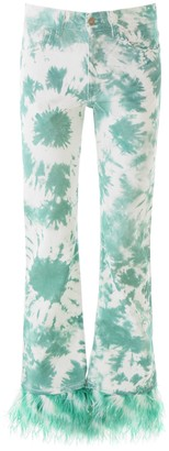 Alanui TIE-DIE JEANS WITH FEATHERS 27 Green, White Cotton