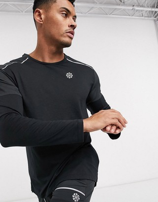 Nike Running Rise 365 long sleeve top in black
