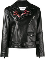 Valentino love blade embroidered leather jacket - women - Cotton/Lamb Skin/Viscose - 42