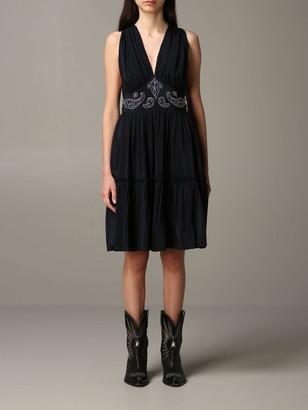 Golden Goose Dress Silk Dress With Texas-style Details