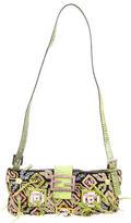 Fendi Lizard-Trimmed Embellished Shoulder Bag