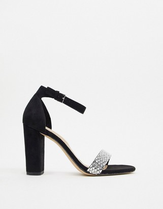 Aldo Jeraybling strappy heeled sandal with diamante detail in black