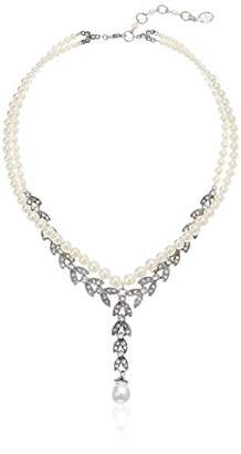 Tiffany & Co. Ben-Amun Jewelry Women's Pearl & Crystal Pearl Strand Marquise Crystal Linear Pearl Drop Y Shaped Necklace for Bridal Wedding Anniversary