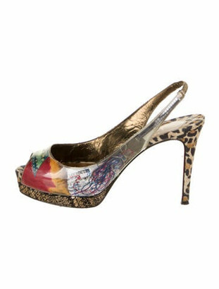 Christian Louboutin Patent Leather Printed Slingback Pumps White