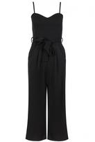 Quiz Black Crepe Tie Belt Culotte Jumpsuit