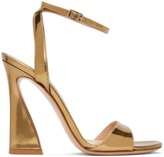 Gianvito Rossi Gold Ankle Strap Curved Heels