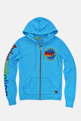 Aviator Nation Neon Blue Zip Hoodie