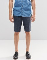 Asos Long Length Tailored Shorts With Fleck In Navy