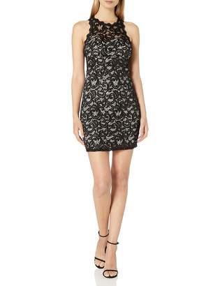 My Michelle Women's All Over Lace Short Dress Black/Mauve 3