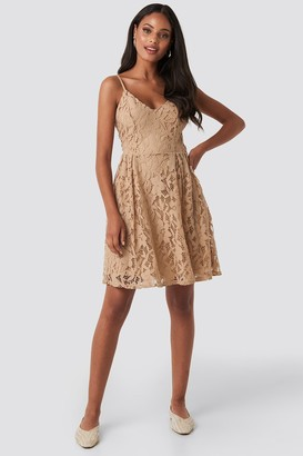 NA-KD Lace Strap Mini Dress Pink