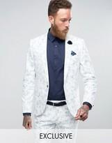 Noose & Monkey Super Skinny Wedding Suit Jacket In Flocking