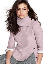 Lands' End Women's 3/4 Sleeve Turtleneck Sweater-Deep Sapphire