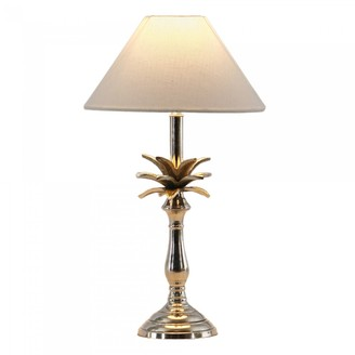 One World Small Nickel Pineapple Lamp With White Shade Pair