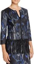 T Tahari Brunella Fringed Paisley Print Jacket