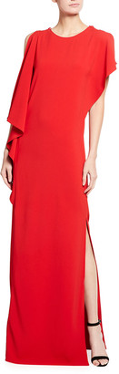 St. John Stretch Cady Gown with High Slit