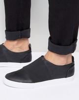 Asos Slip On Sneakers in Black With Elastic Strap