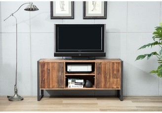 Crawford And Burke Ruffalo Urban Rustic Wood and Metal TV Media Console - 60 x 18 x 28 inches
