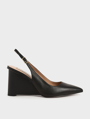 Charles & Keith Leather Pointed Toe Slingback Wedges