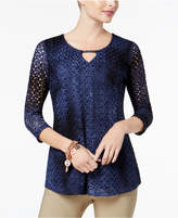 JM Collection Petite Tie-Dyed Crochet-Lace Keyhole Top, Created for Macy's
