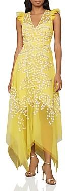 BCBGMAXAZRIA Floral Applique Midi Dress