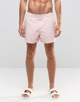 Asos Swim Shorts With Button Waistband In Pink Mid Length