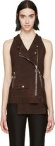 CNC Costume National Brown Suede Biker Vest