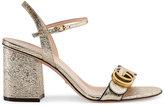 Gucci Metallic (Grey) laminate leather mid-heel sandal