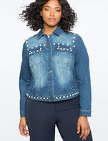 ELOQUII Pearl Embellished Denim Jacket