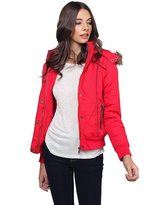 Made by Emma Quilted Puffer Jacket With Detachable Faux Fur Hood Red L