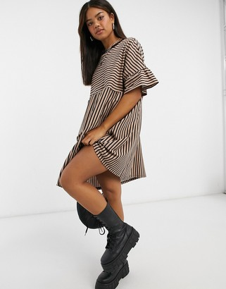 ASOS DESIGN super oversized frill sleeve smock in taupe and black stripe