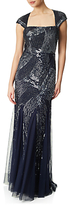Adrianna Papell Cap Sleeve Fully Beaded Gown, Navy