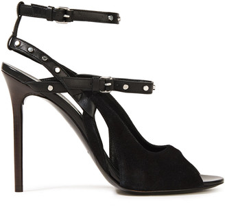 Balenciaga Cutout Studded Leather-trimmed Suede Slingback Sandals