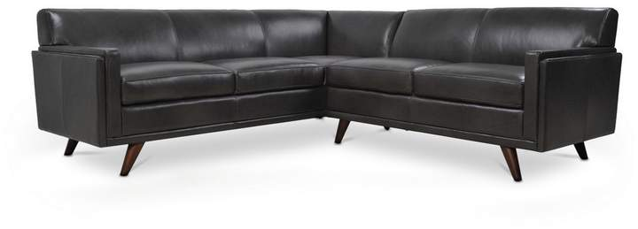 Cogswell 2 Piece L-Sectional Leather Sofa CHARCOAL
