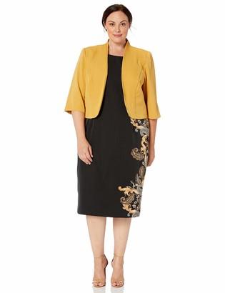 Maya Brooke Women's Plus Size Paisley Side Print Jacket Dress