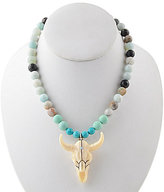Barse Sterling Silver & Amazonite Longhorn Pendant Necklace