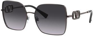 Valentino Square Acetate Sunglasses w/ Crystal VLOGO Detail