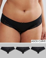 Asos 3 Pack Black Lace Band Microfibre Cheekie Briefs