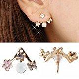 Banggood 1Pair Lady Crystal Flower Rhinestone Earrings Front anf Back Ear Stud