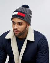 Tommy Hilfiger Flag Bobble Beanie In Charcoal Marl