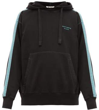 Acne Studios Franz Striped Cotton Hooded Sweatshirt - Mens - Black