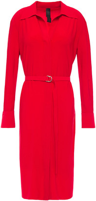 Norma Kamali Belted Stretch-jersey Shirt Dress
